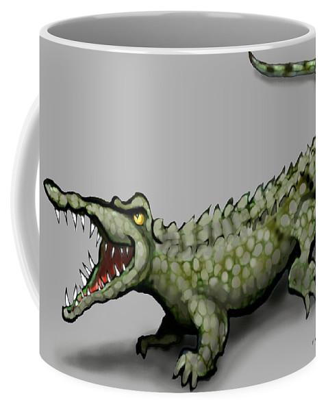 Crocodile Coffee Mug featuring the greeting card Crocodile by Kevin Middleton