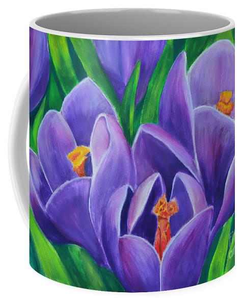 Crocus Flowers Coffee Mug featuring the painting Crocus Flowers by Olga Hamilton