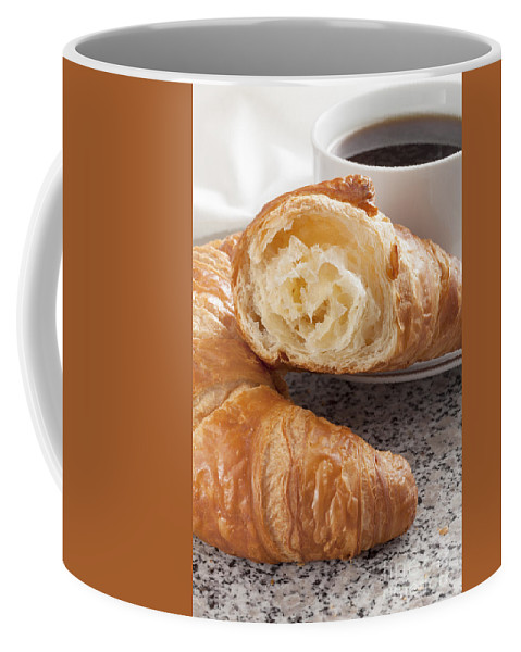 Coffee Coffee Mug featuring the photograph Croissants And Coffee by Julie Woodhouse