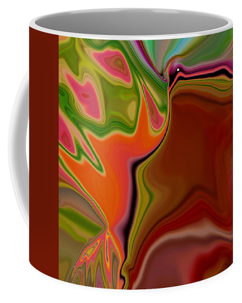 Abstract Coffee Mug featuring the digital art Crooked Billed Bird by Ruth Palmer