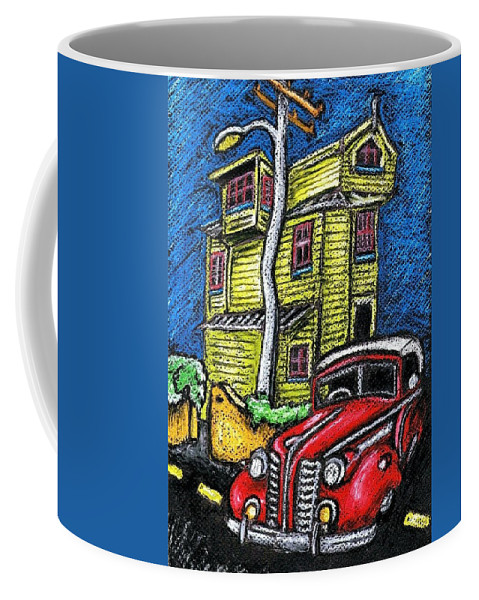 #streetart #streetscene #colour #wellington #nz #newzealand #road #redcar #funky #funkyhouse #vivid #colourful #bright Coffee Mug featuring the photograph Crooked House by Stuart Clifford