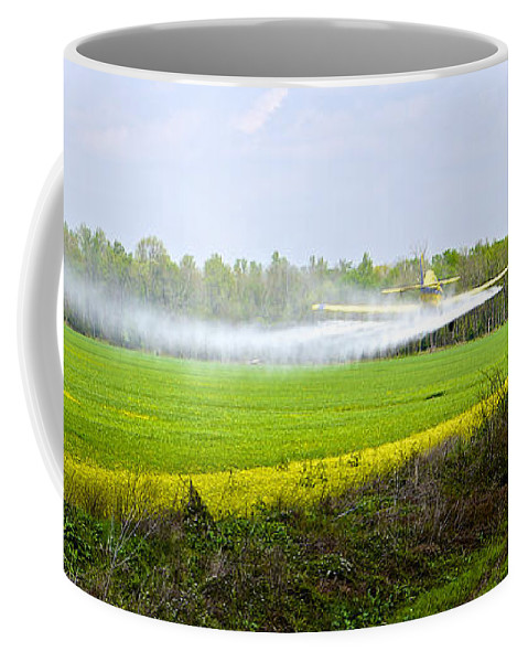 Plane Coffee Mug featuring the photograph Crop Dusting by Charlie Brock