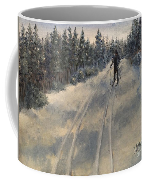 Landscape Coffee Mug featuring the painting Cross Country Skiing by J O Huppler