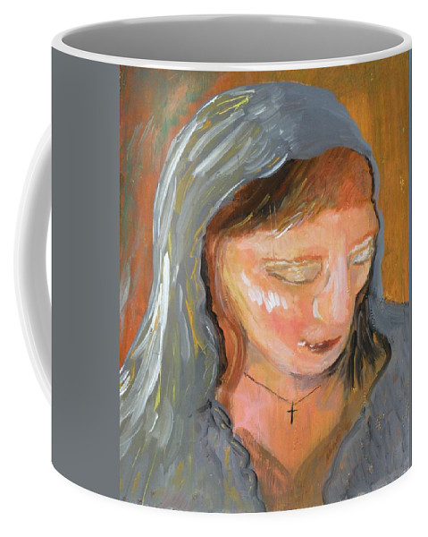 Angel Coffee Mug featuring the painting Cross for Maria by J Bauer