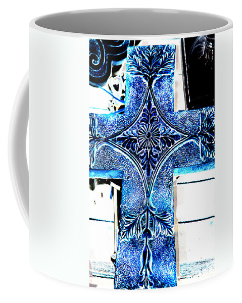 Photography Coffee Mug featuring the photograph Cross In Blue by Susanne Van Hulst