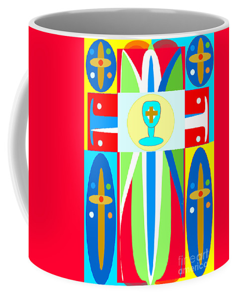Cross Of Colors Coffee Mug featuring the digital art Cross Of Colors by Jon Fennel