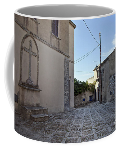 Cross Coffee Mug featuring the photograph Cross Road In Sicily by Madeline Ellis