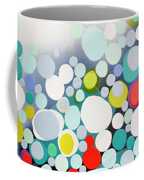 Abstract Coffee Mug featuring the painting Cross The Line by Claire Desjardins