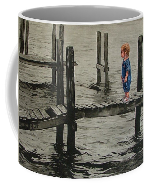 Children Coffee Mug featuring the painting Crossing by Valerie Patterson