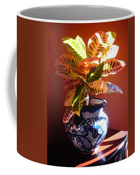 Potted Plant Coffee Mug featuring the photograph Croton In Talavera Pot by Amy Vangsgard
