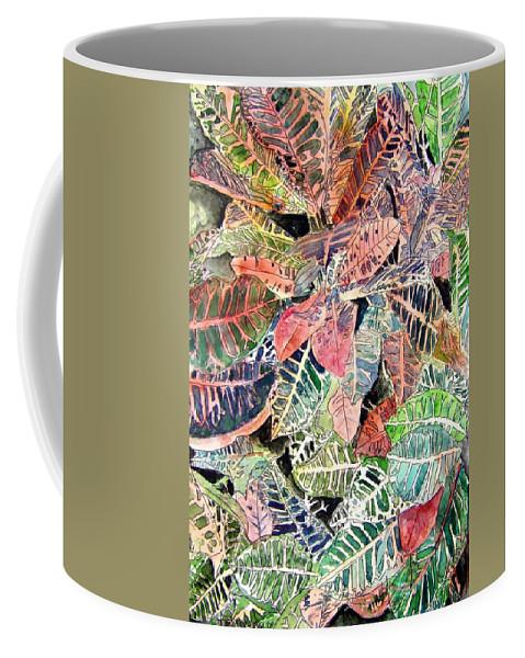 Croton Coffee Mug featuring the painting Croton Tropical Art Print by Derek Mccrea