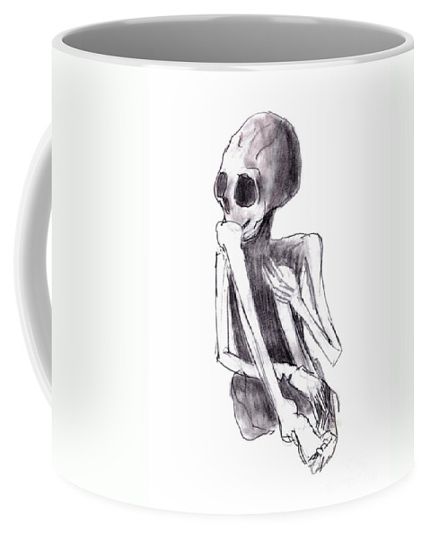 Crouched Skeleton Coffee Mug featuring the drawing Crouched Skeleton by Michal Boubin