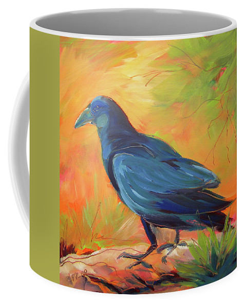Oil Painting Coffee Mug featuring the painting Crow In The Grass 7 by Pam Van Londen