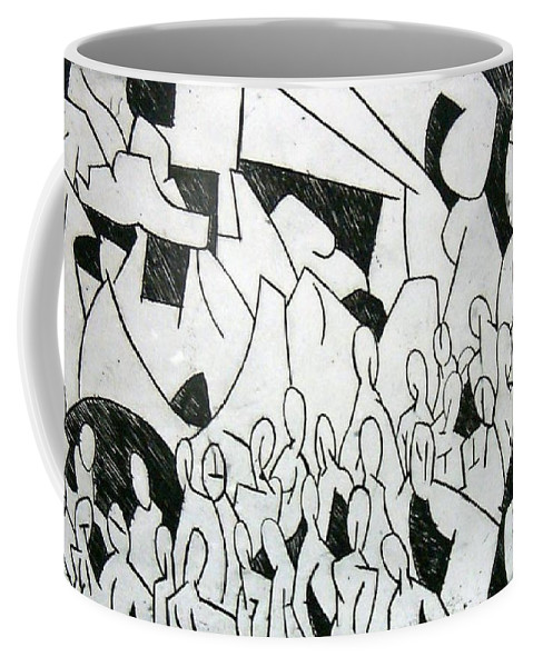 Etching Coffee Mug featuring the print Crowd by Thomas Valentine