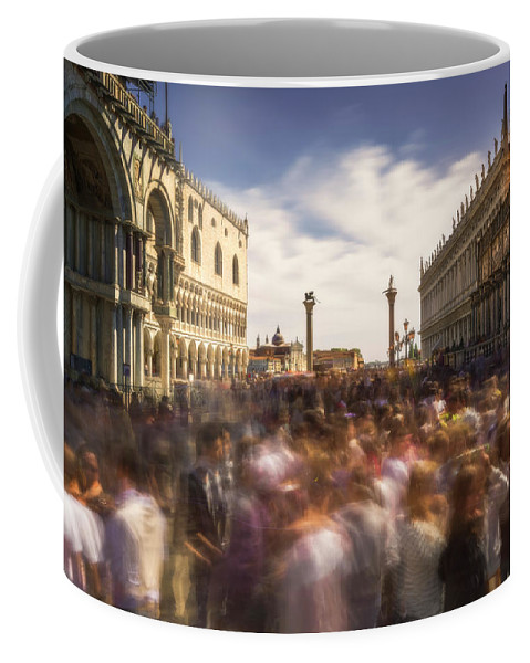 Crowd Coffee Mug featuring the photograph Crowded On St. Mark's Square by Ludwig Riml