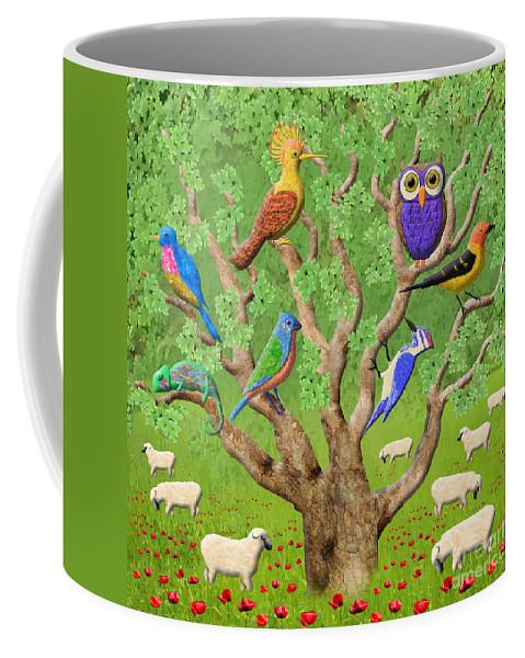 Tree Coffee Mug featuring the digital art Crowded Tree by Grigorios Moraitis