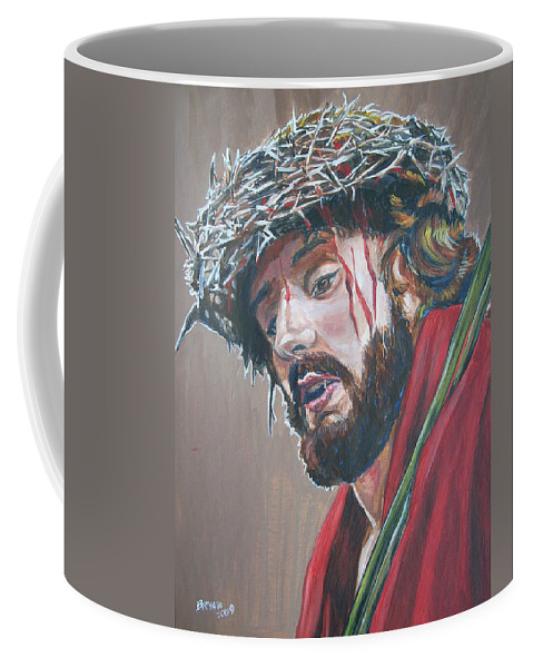 Jesus Christ Coffee Mug featuring the painting Crown Of Thorns by Bryan Bustard