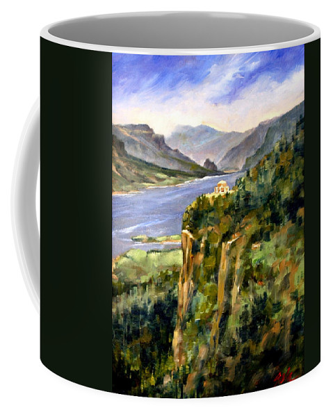 16 X 12 Coffee Mug featuring the painting Crown Point Oregon by Jim Gola