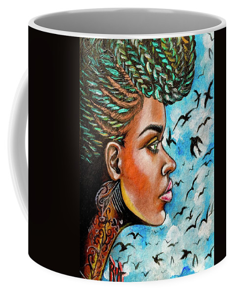 Ria Coffee Mug featuring the painting Crowned Royal by Artist RiA