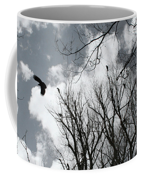 Crows Coffee Mug featuring the photograph Crows In Cottonwoods by Ric Bascobert
