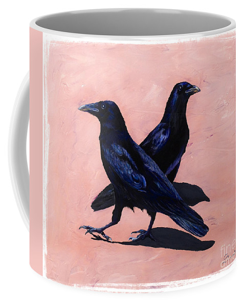 Crows Coffee Mug featuring the painting Crows by Sandi Baker