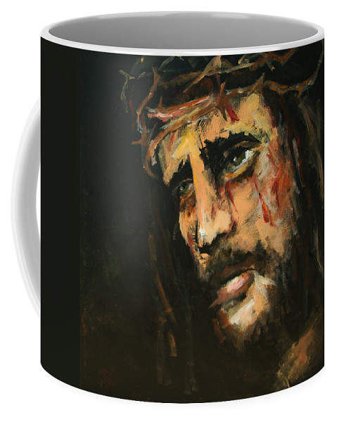 Jesus Coffee Mug featuring the painting Crucified Jesus by Carole Foret