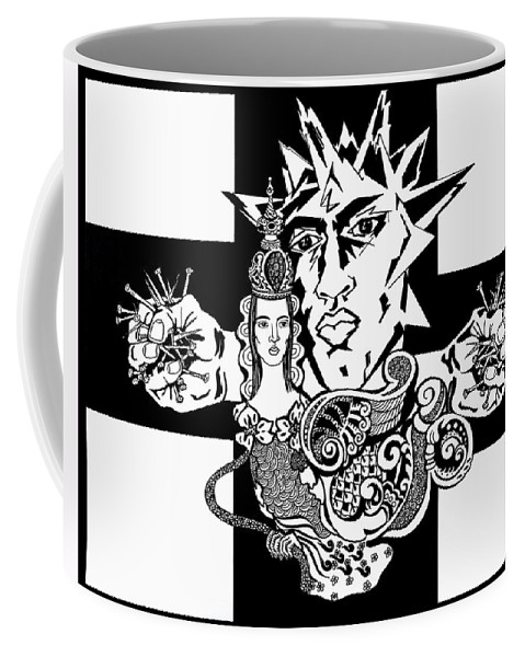 People Coffee Mug featuring the drawing Crucifixion by Yelena Tylkina