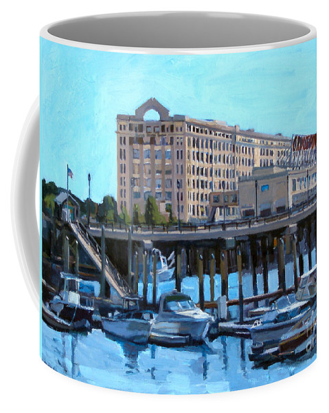 Boston Coffee Mug featuring the painting Cruiseport Boston by Deb Putnam