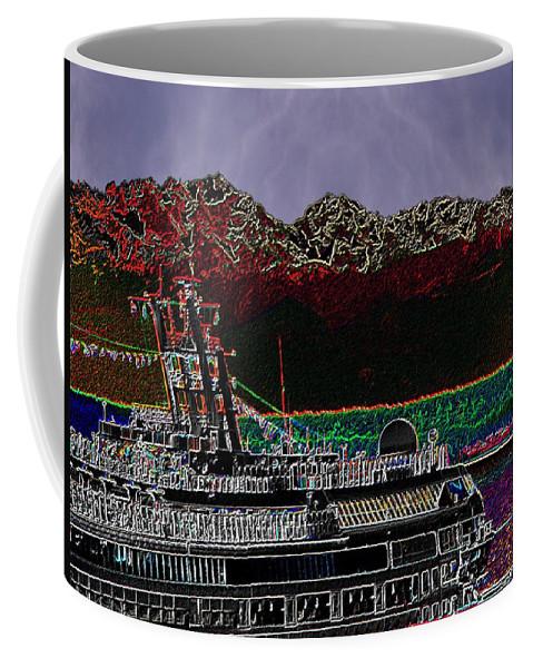 Seattle Coffee Mug featuring the digital art Cruising Puget Sound by Tim Allen