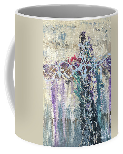 Abstract Coffee Mug featuring the painting Crux 4 by Linda Cranston