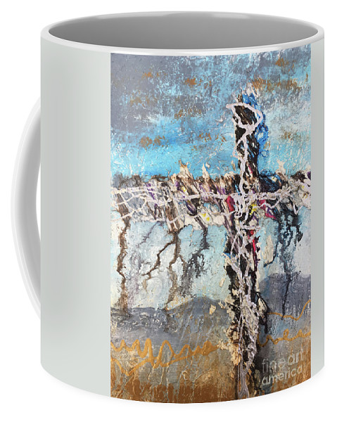 Abstract Coffee Mug featuring the painting Crux 7 by Linda Cranston