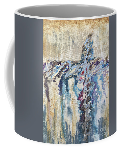 Abstract Coffee Mug featuring the painting Crux 8 by Linda Cranston