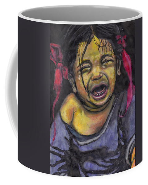 Baby Coffee Mug featuring the pastel Cry Baby Cry by Jean Haynes