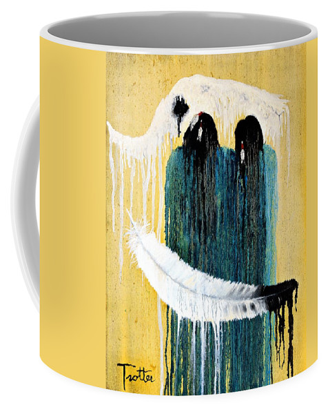 Native American Coffee Mug featuring the painting Crying For A Vision by Patrick Trotter