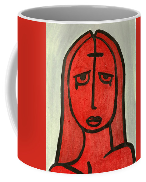 Clay Coffee Mug featuring the painting Crying Girl by Thomas Valentine