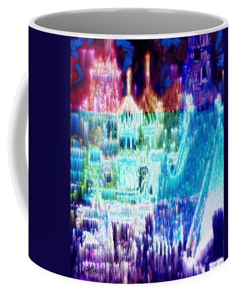Northern Lights Coffee Mug featuring the digital art Crystal City by Seth Weaver