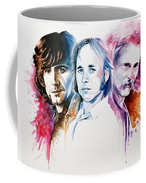 David Crosby Coffee Mug featuring the painting CSN by Ken Meyer jr