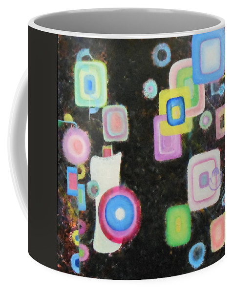 Music Piano Circles Hollows Squares Patterns Bright Colorful Reds Blues Whites Green Pink Black Coffee Mug featuring the painting Cuban Piano - Percussion by David Mintz