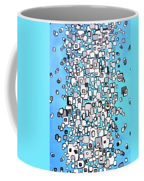 Cubes Coffee Mug featuring the painting Cubic Separation by Larry Calabrese