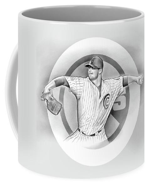 2016 Coffee Mug featuring the drawing Cubs 2016 by Greg Joens