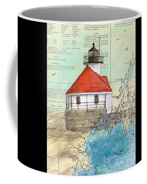 Cuckolds Coffee Mug featuring the painting Cuckolds Lighthouse Me Nautical Chart Map by Cathy Peek