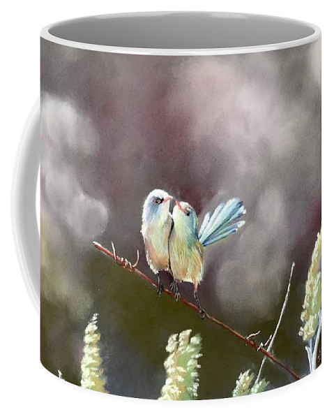 Wrens Coffee Mug featuring the pastel Cuddle Time by Gayle Newcombe