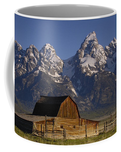 00210002 Coffee Mug featuring the photograph Cunningham Cabin and Tetons by Pete Oxford