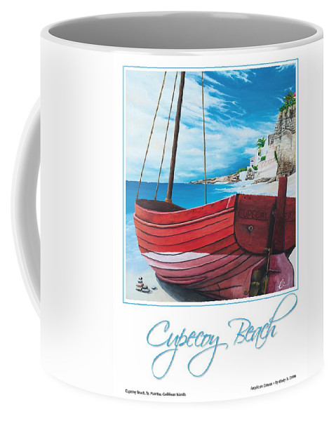 Red Coffee Mug featuring the painting Cupecoy Beach Poster by Cindy D Chinn