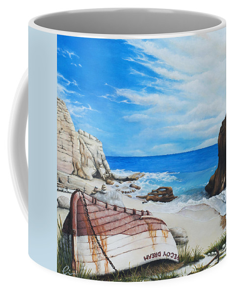 Sint Maarten Coffee Mug featuring the painting Cupecoy Dream by Cindy D Chinn