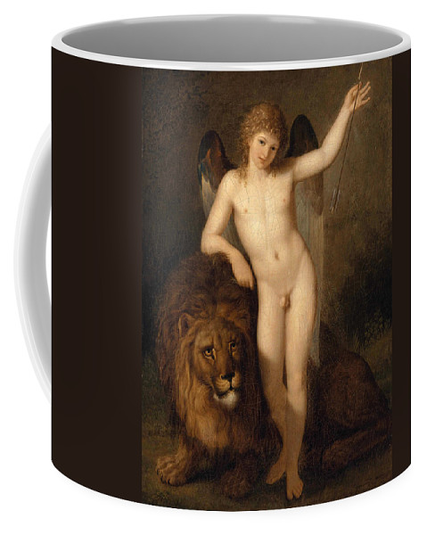Benigne Gagneraux Coffee Mug featuring the painting Cupid With A Lion by Benigne Gagneraux