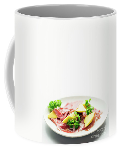 Contemporary Coffee Mug featuring the photograph Cured Parma Serrano Style Ham With Fresh Mango Salad Snack by Jacek Malipan
