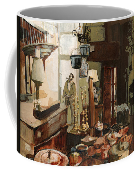Interior Coffee Mug featuring the painting Curio Shop by Nancy Watson