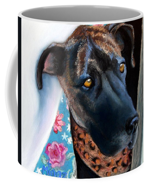 Great Dane Coffee Mug featuring the painting Whats Going On? by Minaz Jantz