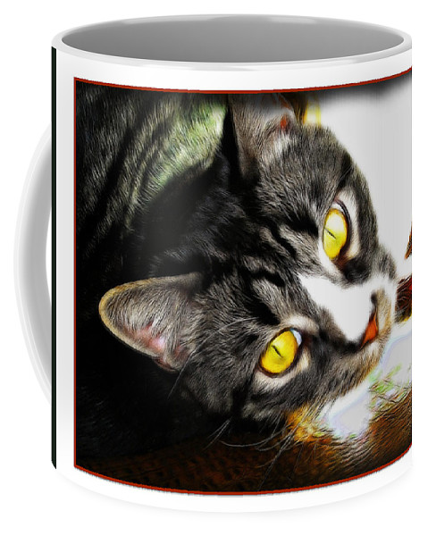 Cat Coffee Mug featuring the photograph Curiousity by Joan Minchak
